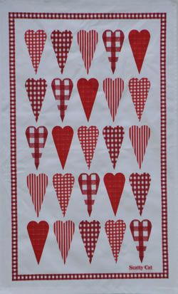 Tea Towel Gingham Hearts