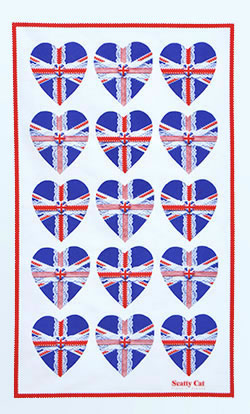 Tea Towel Union Jack Hearts