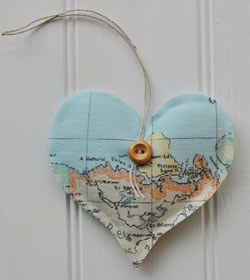 World Map Lavender Heart